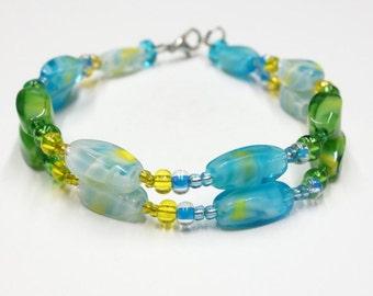 Double Strand Swirl Glass Beaded Bracelet