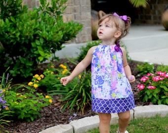 Purple Pillowcase Dress -  toddler dress baby dress girls dress summer dress purple floral