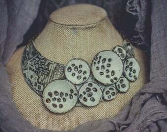 Statement necklace Bib necklace ivory necklace  Klimt necklace  polymer clay necklace