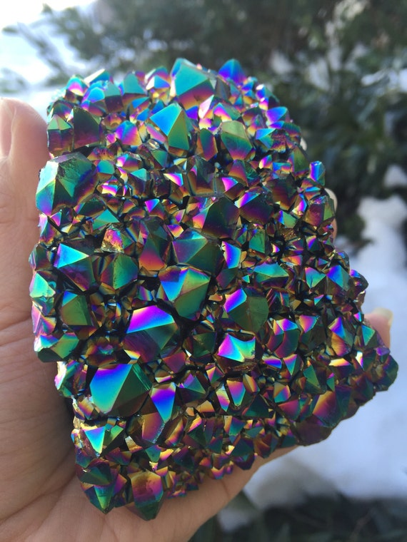 Rainbow Quartz Stone : Rainbow aura amethyst cluster flame