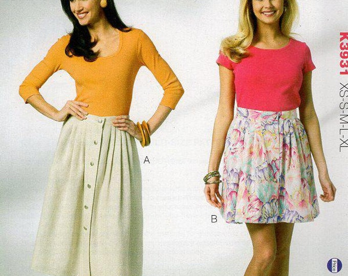 Free Us Ship Sewing Pattern  3931 Front Button Side Pocket Skirt XS-XL Hips 32.5 to 47 inches Plus size 2012 Out of Print