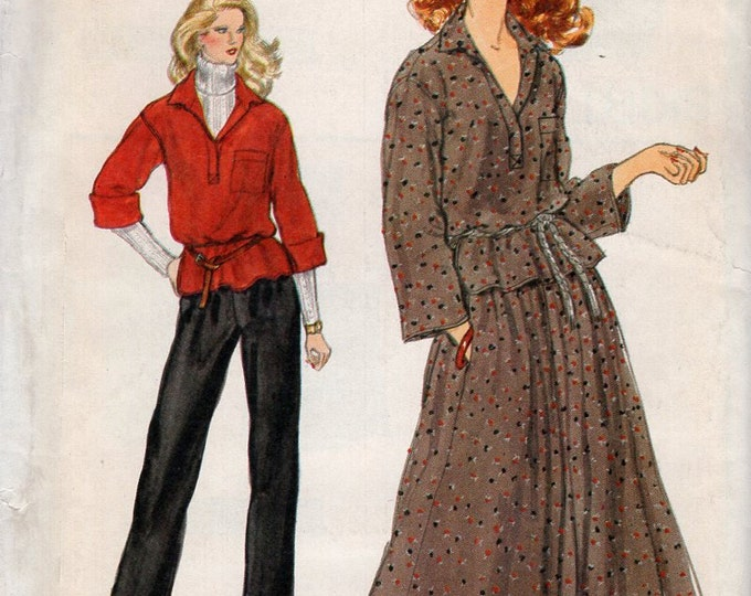 Free Us Ship Sewing Pattern Vogue 7163 Vintage Retro 1970s 70s Tops Skirt Pants Size 10 Bust 32.5 Uncut High Waist Wide Leg Slacks