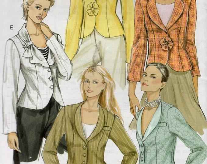 Free Us Ship Sewing Pattern Vogue 8260 Cute Button Jacket Collar Variations 5 designs 2005 Out of Print Size 6 8 10 Bust 30.5 31.5 32.5