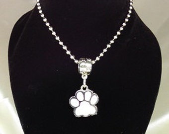 Enamel Paw on Ball Chain Necklace