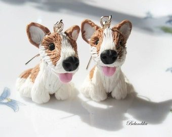 Welsh Corgi earrings,polymer clay,Corgi