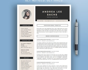 SALE! Resume Template Instant Download | Creative CV Template | Modern Resume Template + Photo | Resume Design | Cover Letter | Mac + PC