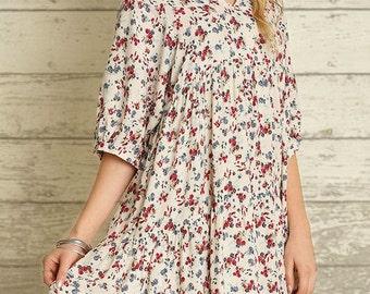 Boho floral peasant dress