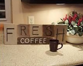 FRESH COFFEE Decorative Wooden Wall Hanging