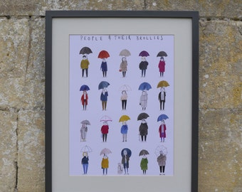 Art Print, Illustration, Hand Painted, A3 Size, Umbrellas, Brollies, People with Umbrellas, England