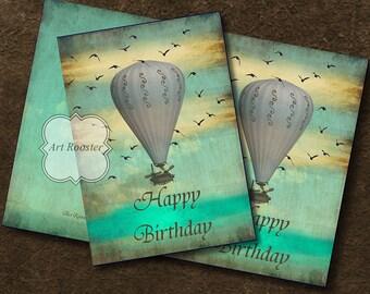 Printable Birthday Card Mom Best Friend Vintage HOT AIR BALOON Printable Images Digital Collage Sheet Printable Greeting Cards ArtRooster
