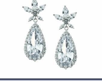 Bridal Earrings, Wedding Earrings, Pearl Bridal Earrings, Statement Earrings, Crystal Chandelier Earrings, Bridesmaids Earrings, Rachel