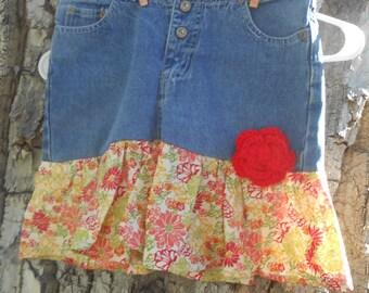 Upcycled Blue Jean Skirt Girl's Size 12