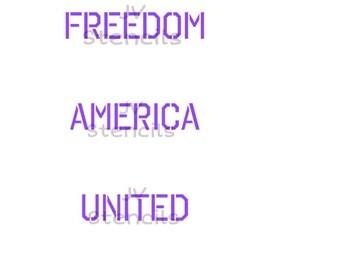 Freedom, America, United Stencil