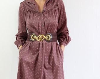 Plum vintage patterned dress. Size L