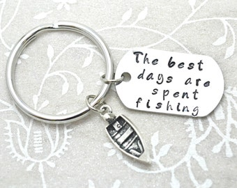 Stamped Keychain, Fishing Keychain, Fishing Gift, Fathersday Gift, Gift for Dad, Fishing Gifts, Custom Keychain, Gift for Him, Boat Keychain
