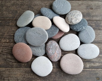 """20 Extra Large Sea Stones- Beach Stones- Wedding Guest Book - Beach Finds -2,4"""" -2,8"""" Large Sea Rocks"""