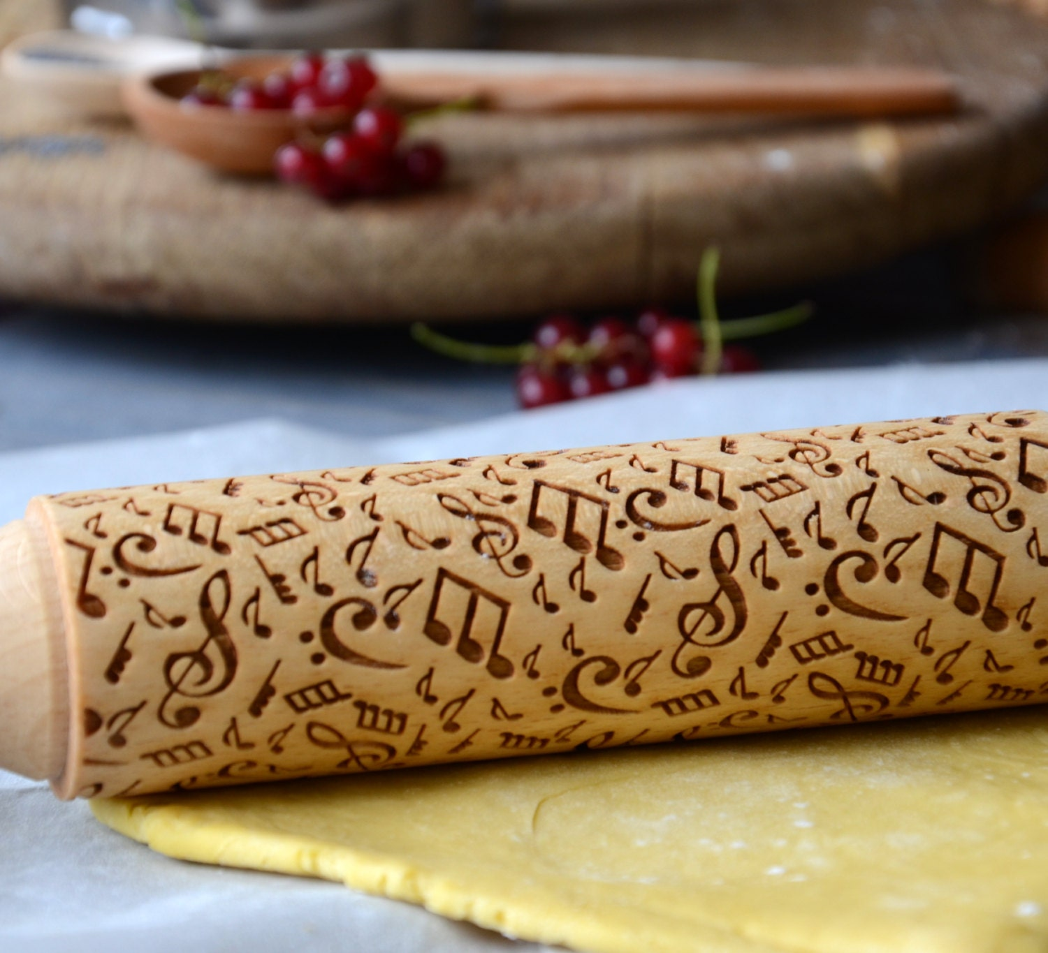 music design personalized rolling pin custom engraved note. Black Bedroom Furniture Sets. Home Design Ideas