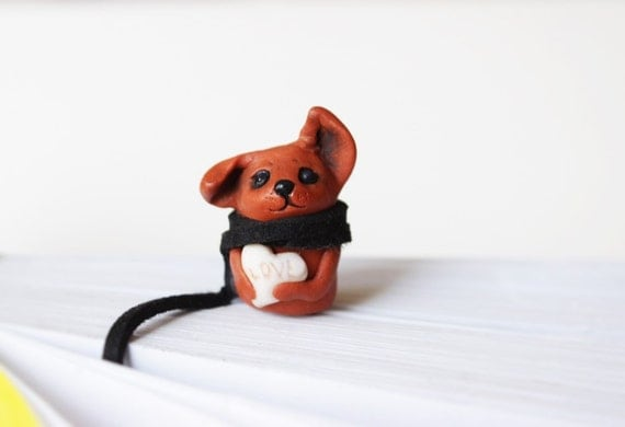 Dog Bookmark Planner Clip Ribbon