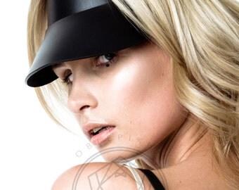 Leather Sun Visor Hat, Leather Cap,Leather Visor Women,Fashion Hat,Handmade Visor,Sun Hat womens,Visor,Leather accessories,Tennis Cap, Black