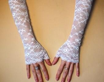 Bridal long gloves/Wedding gloves/Bridal lace gloves/Fingerless Gloves/White gloves