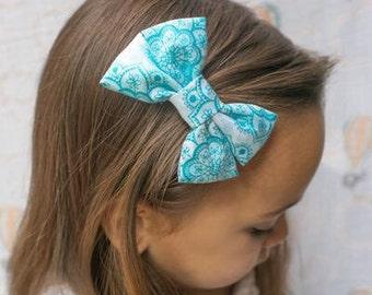 Blue Lace Bow - Blue Lace Hair Bow - Blue Lace Fabric Hair Bow - Blue Lace Bow Hair Clip - Fabric Hair Bow - Blue Lace Bow Hair Clip