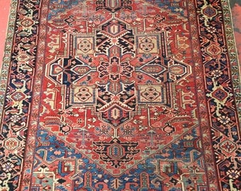 "Antique Persian Heriz Rug 7'6"" x 9'4"" Blue Corners + Rare Size c.1910"