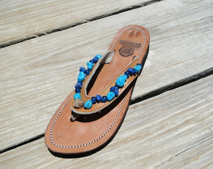 Handcrafted Beaded Leather Sandals - Turquise and Blue Beads - Fair Trade - Brown Leather Flip Flop Sandals - From Honduras - Free Shipping