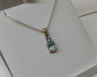 Silver 925 pendant rhinestones blue noble SK756