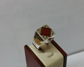 925 Silver ring with red agate & Markasiten SR630