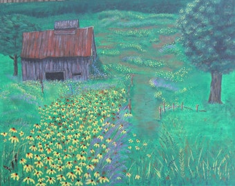 Country Meadow, Barn in the Meadow, Country Flowers, Wild Flowers, Original Painting, Field of Flowers