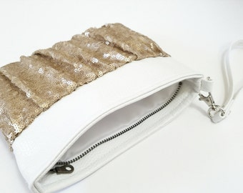 Faux Leather and Sequin Wristlet - Matte Champagne Gold, White Faux Leather, Gathered Ruched Wristlet