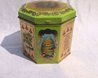 Vintage Bee Tin Canister Green And Gold Tin With Bees Honeycomb Tin Canister