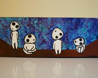 Kodama (Tree Spirits) painting original acrylic 4x12in. canvas wall art unframed home decor fan art anime princess mononoke studio ghibli