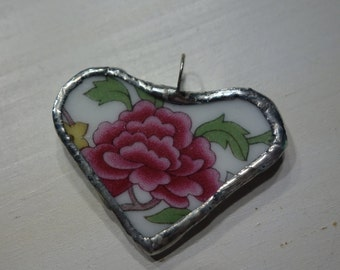 Broken china jewelry-broken china heart pendant-pink flower pendant -heart pendant