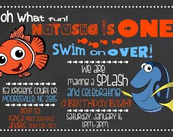 Finding Nemo Invitation /Fish Invitation / Nemo Chalkboard Invitation / Finding Dory Invitation/ Finding Nemo Chalkboard Invite / Digital
