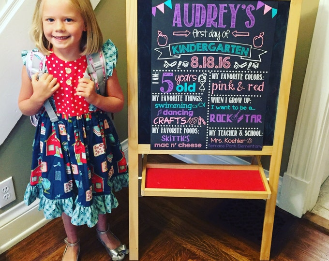 First Day of Kindergarten Chalkboard / First Day Chalkboard Sign /First Day of School Sign /First Day of Kindergarten Sign / Digital File