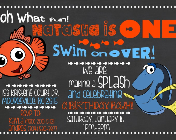 Finding Nemo Invitation /Fish Invitation / Nemo Chalkboard Invitation / Finding Dory Invitation/ Finding Nemo Chalkboard Invite / Digital