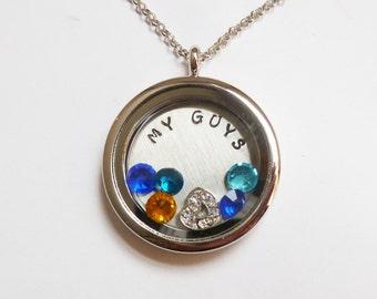 MY GUYS - A Mom's Cherished Keepsake - Floating Charm Locket with Birthstones - Memory Locket - Custom Hand Stamped Gift for Mom