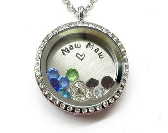 Maw Maw - Silver Rhinestone Edge or Custom Floating Charm Locket - Memory Locket - Custom Hand Stamped Gift for Mom or Grand