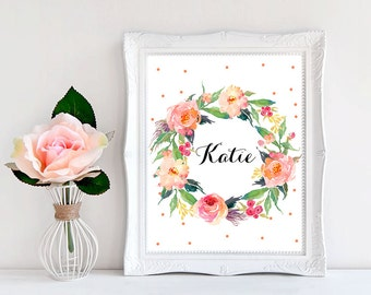 Baby name print Nursery name wall art Peach nursery decor Baby name wall art Baby girl printable Personalized baby sign Hospital door sign