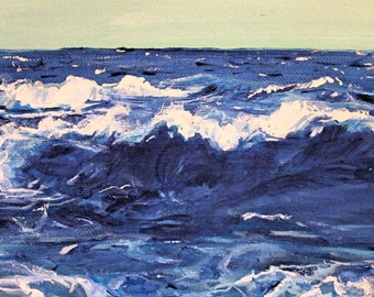 Ocean 8x10 Original Acrylic Painting on Canvas