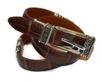 """Brighton, Reversible, Leather Belt, Size 32"""", Medium, Western Wear, Silver Buckle Belts,"""