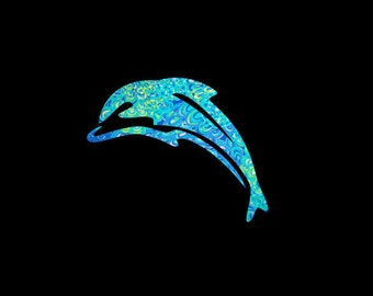 Dolphin Decal, Preppy Patterned Vinyl, Choice of Pattern and Size, Porpoise, Aquatic, Sea Life