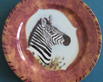 "Lynn Chase Design African Portraits Zebra 9.25"" Salad Plate 1995"