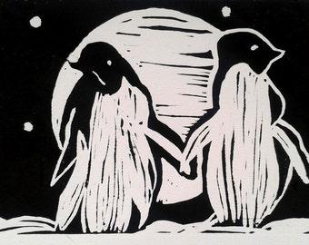 Penguins Hand Printed Greeting Card