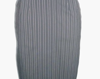 Pencil skirt mid-calf black pinstripe retro