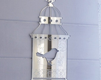 Shabby Chic Bird Cage Acrylic Mirror - Single Bird