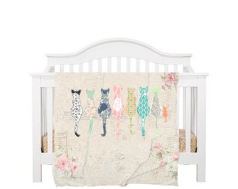 cat nursery bedding, cat bedroom decor, cat blanket, crib bedding, baby bedding, christmas gift, pram blanket, swaddle blanket, cat decor