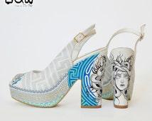 HELLENE - ancient greek shoe, hellenistic high heels, medusa, meander design, hand painted shoe, peep toe summer shoe