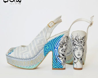 HELLENE - ancient greek shoe, hellenistic high heels, medusa, meander design, hand painted shoe, peep toe summer shoe